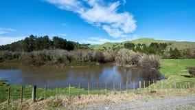 Un lago en un prado debajo de un cielo azul Imagen de archivo libre de regalías