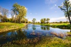 Un lago en un parque fotos de archivo libres de regalías