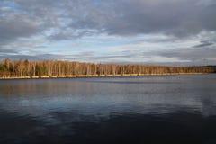 Un lago nell'inverno Fotografia Stock Libera da Diritti