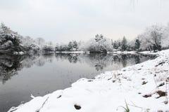 Un lago nevado imagen de archivo