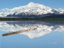 Un lago pacifico logon sotto il Mt. McKinley Fotografia Stock