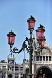 Un lampadaire historique avec des pigeons Images stock