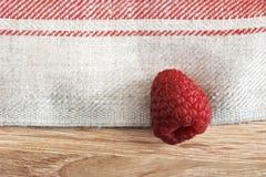 Un lampone rosso su un fondo dei tovaglioli di tela fotografia stock
