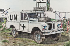 The UN Land Rover at a checkpoint in Kosovo. British Land Rover to the Ukrainian checkpoint in Kosovo stock illustration