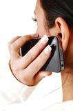 Muchacha en el teléfono celular. Imagen de archivo libre de regalías