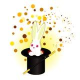 Un lapin dans un chapeau du ` s de magicien, une baguette magique magique illustration stock