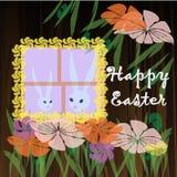 Un lapin de blanc de lapin de Pâques Photos stock