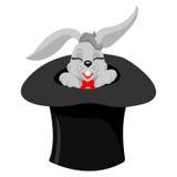 Un lapin mignon de magiciens de bande dessinée sortant d'un chapeau supérieur avec une baguette magique magique illustration de vecteur
