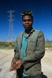 Un lavoratore in Sudafrica. immagini stock