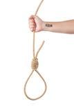 Un lazo de la cuerda en la mano del hombre con el código de barras fotos de archivo libres de regalías