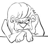 Un león blanco y negro gruñón stock de ilustración