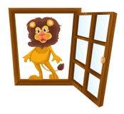 Un león en una ventana Fotografía de archivo libre de regalías