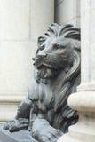 Un león miente entre dos columnas romanas Imágenes de archivo libres de regalías