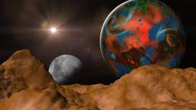 Un lento enfoca adentro un Exoplanet stock de ilustración