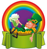 Un leprechaun nell'arcobaleno Immagini Stock Libere da Diritti