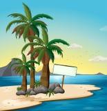Un letrero vacío en la playa ilustración del vector