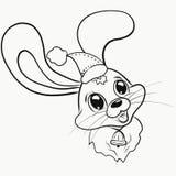 Un lièvre gai dans un chapeau de Noël avec une cloche illustration de vecteur
