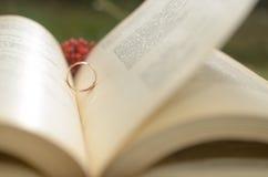 Un libro abierto con un anillo de compromiso como símbolo del amor Imágenes de archivo libres de regalías