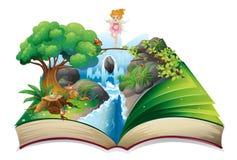Un libro abierto con una imagen de una tierra de hadas stock de ilustración