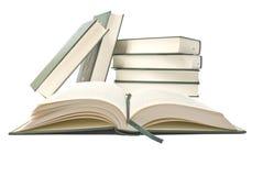 Un libro abierto que se sienta en un fondo blanco Imágenes de archivo libres de regalías