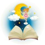 Un libro aperto con un fatato sveglio e un sonno moon Fotografie Stock