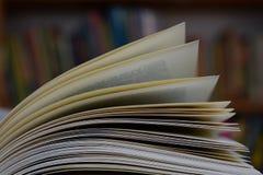 Un libro aperto in una biblioteca Fotografie Stock