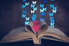 Un libro con las mariposas del corazón y del bokeh Imagen de archivo libre de regalías