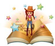 Un libro con un cowgirl grazioso illustrazione di stock