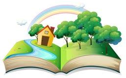 Un libro con una storia di una casa alla foresta illustrazione di stock