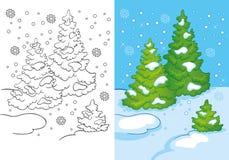 Un libro da colorare di tre alberi nella neve Immagine Stock Libera da Diritti