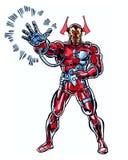 Un libro di fumetti ha illustrato il custode cosmico del carattere che indossa un vestito dell'armatura illustrazione di stock