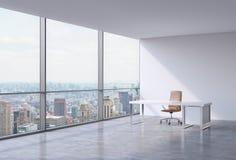 Un lieu de travail dans un bureau panoramique faisant le coin moderne à New York, Manhattan Une chaise en cuir brune et une table illustration stock