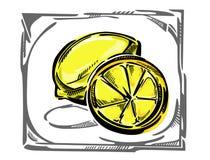 Un limone stilizzato di vettore nel telaio curvy Immagini Stock Libere da Diritti