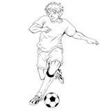 Un lineart del giocatore di football americano Immagine Stock