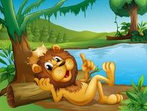 Un lion de roi se situant dans un tronc à la rive illustration de vecteur