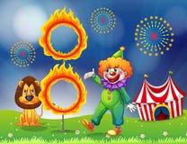 Un lion et une exécution de clown illustration stock
