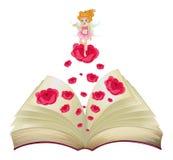 Un livre avec une image d'une fée au-dessus d'un grand s'est levé Image stock