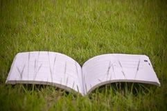 Un livre dans le domaine vert photos stock