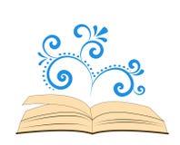 Un livre ouvert avec l'ornement en spirale Photographie stock