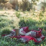 Un livre ouvert dans le jardin, livre, un thermos avec le thé, une vapeur au-dessus d'une tasse thermo Couverture chaude Ouvrez l image stock