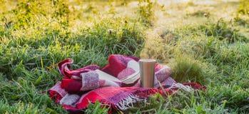 Un livre ouvert dans le jardin, livre, un thermos avec le thé, une vapeur au-dessus d'une tasse thermo Couverture chaude Ouvrez l image libre de droits
