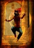 Un lobo-hombre salta en las escaleras que grita Fotografía de archivo