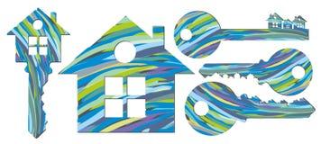 Un logo de cottage avec des clés illustration libre de droits
