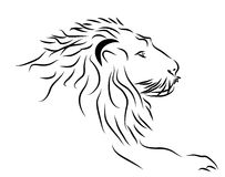 Un logo de tête de lion en noir et blanc. Photo stock
