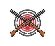 Un logo per la gamma di fucilazione o la gamma della pistola illustrazione vettoriale