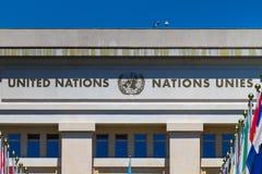 UN logo przy wejściem w UN biurze przy Genewa, Switzerla Fotografia Stock