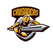 Un logo variopinto, un autoadesivo, un emblema, un cavaliere sta attaccando con una spada Armatura del cavaliere, paladino, spada Immagini Stock