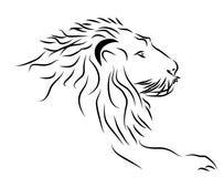 Un logotipo de la cabeza del león en blanco y negro. stock de ilustración