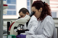 Un lookin medico o scientifico femminile di medico della donna o del ricercatore Fotografia Stock