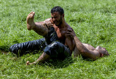 Un luchador lanza a su opositor a la tierra en el festival de lucha del aceite turco de Kirkpinar en Edirne en Turquía Imagen de archivo